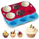 Silikon-Backform, 2 Stück, tiefe und Jumbo-Muffinform, 6 Tassen, groß, antihaftbeschichtet, riesige Cupcake-Dose, Silikonform, Backform, Brötchen, blau-rot