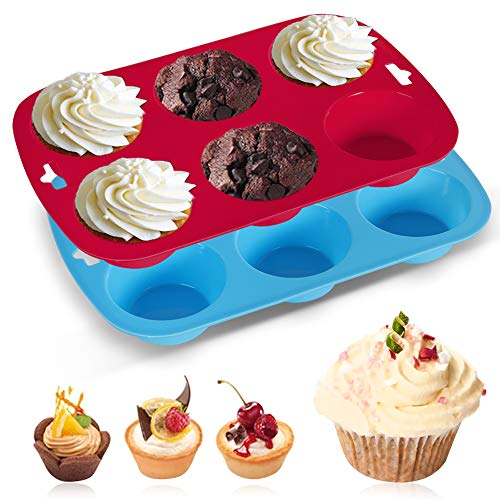 Silicone Muffins Tray, 2 Pack Deep and Jumbo Muffin Pan 6 Cup Large , Non-Stick Giant Cupcake Tin, Silicon Mould Bakeware, Baking Case, Bun, Blue-red