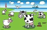 UB Fahne/Flagge Schafe und Kühe an der Küste 90 cm x 150 cm Neuware!!!