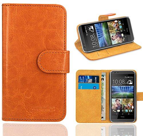HTC Desire 620 Handy Tasche, FoneExpert® Wallet Hülle Flip Cover Hüllen Etui Ledertasche Lederhülle Premium Schutzhülle für HTC Desire 620 (Orange)