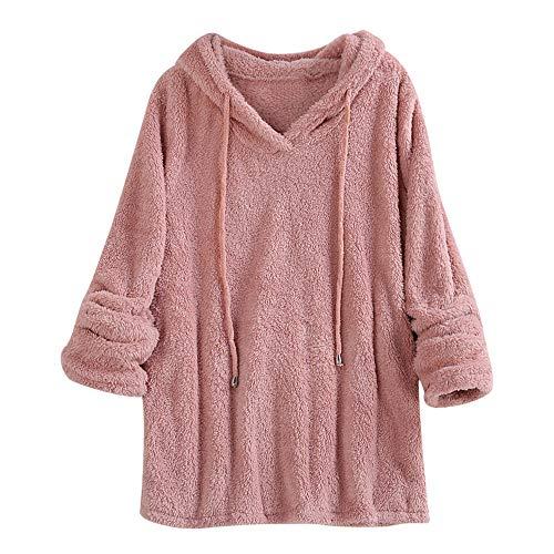 MEIbax Winter Damen Plüsch mit Kapuze Pullover Normallack Lange Hülsen Sweatshirt Oberseiten Bluse Kaschmir Hoodie