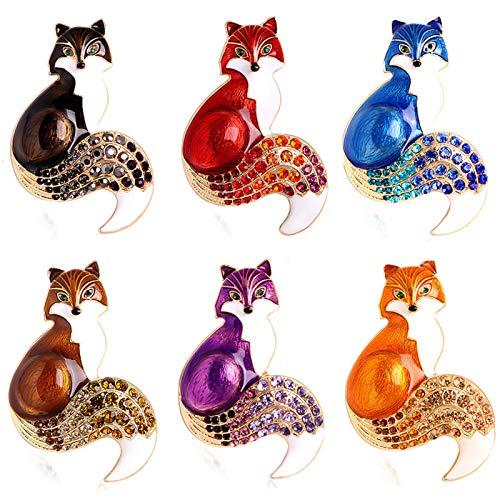 EOPER 6 Stück Strass Fuchs Broschen für Frauen/Frauen/Damen/Mädchen, niedliches Fuchs-Design, Brosche, zarte nicht verblassende Tiernadeln für Kleidung, Taschen, Rucksäcke, Jacken, Hut-Dekoration