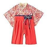 Feidoog ベビー 袴ロンパース 女の子 着物 フォーマル 蝶結び リボン ひな祭り 桜 レッド 80