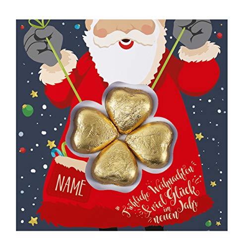 Herz & Heim® Pralinen zu Weihnachten - Süße Grüße - Grußkarte inkl. 4 Lindt Schokoladen-Herzen mit Wunschnamen