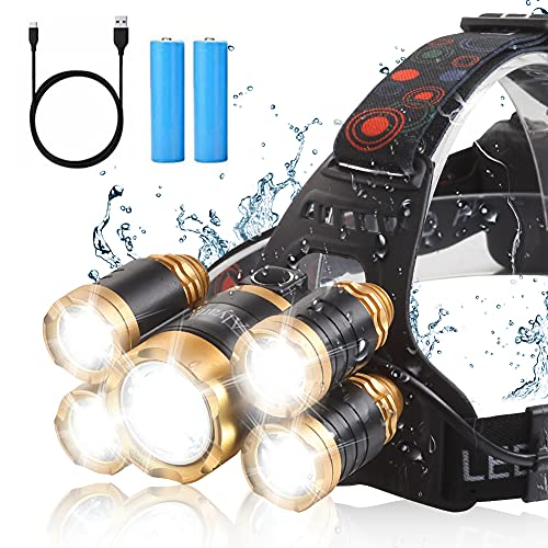Headlamp Super Bright 10000 Lumen Zoomable LED Headlight Micro-USB Rechargeable, 4 Modes Waterproof Head Lamp CREE LED Headlamps for Camping Hiking Hunting Outdoors