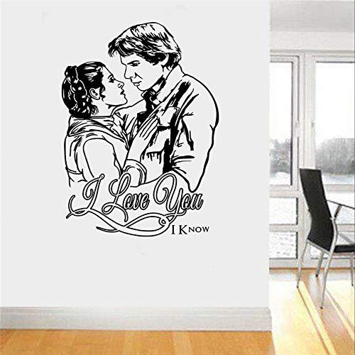 Sticker mural Star Wars Princesse Leia et Han Solo Love Nursery Chambre d'enfants Art Decor