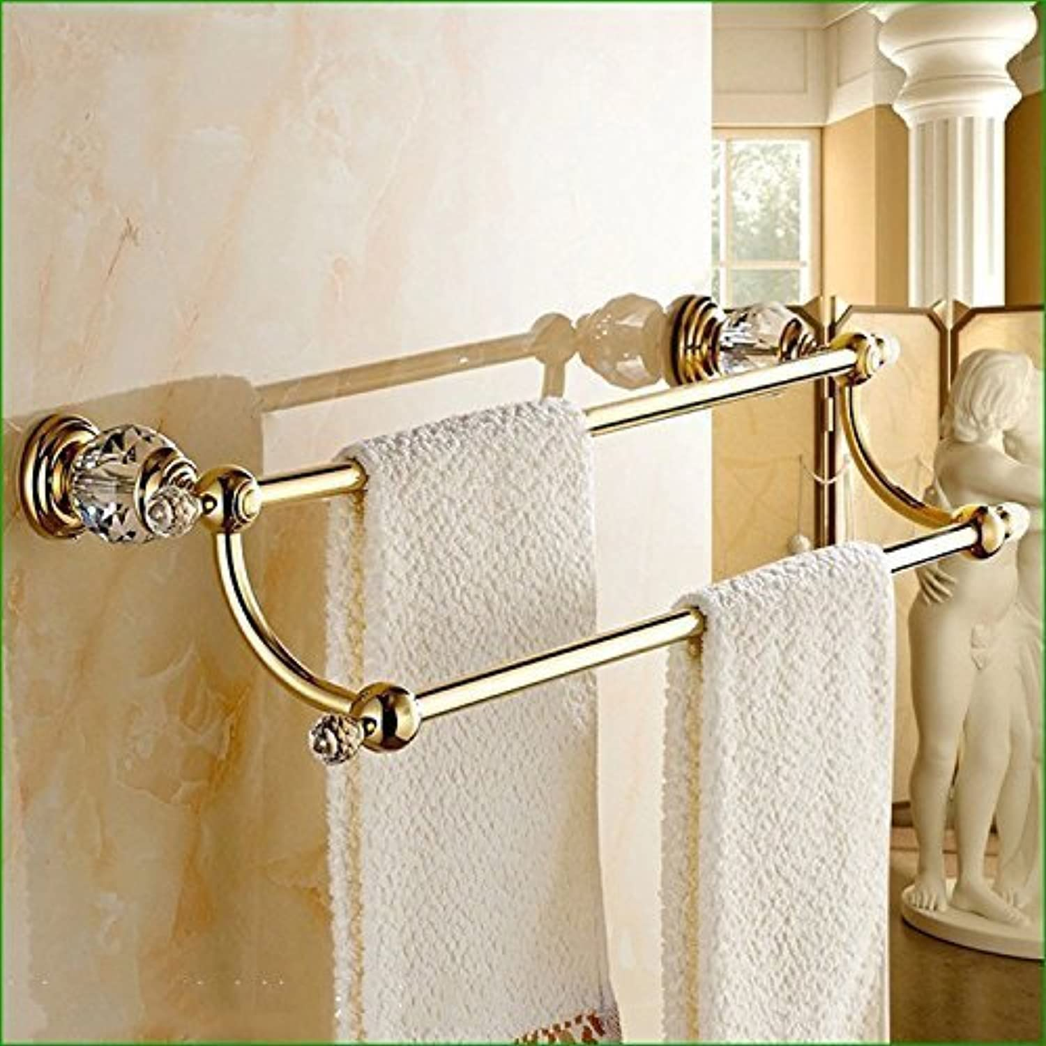 The Dry-Towels Crystal gold Copper Bathroom Accessories Double Bar Dry-Towels