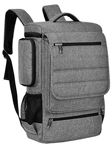 BRINCH Laptop Rucksack, geräumig Schulrucsack Reise College Knapsack Outerdoor Backpack Studenten Rucksack Hikingtasche für 17-17,3 Zoll Laptop/Notebook/MacBook Computer, Grau-schwarz