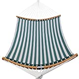Patio Watcher 14 FT Quick Dry Hammock Folding Curved Bamboo Spreader Bar Portable Hammock for Camping Outdoor Patio Yard, Water Resistance and UV Resistance