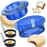 Sandwich Cutters Sealers Set with 2 Fried Egg molds, Uncrustables Sandwich Cookie Bread Pancake...