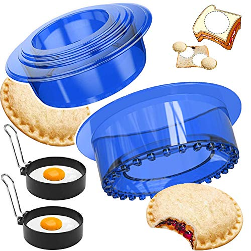 Sandwich Cutters Sealers Set with 2 Fried Egg molds, Uncrustables Sandwich Cookie Bread Pancake Maker Perfect for Kids Lunchbox and Bento Box (BLUE)