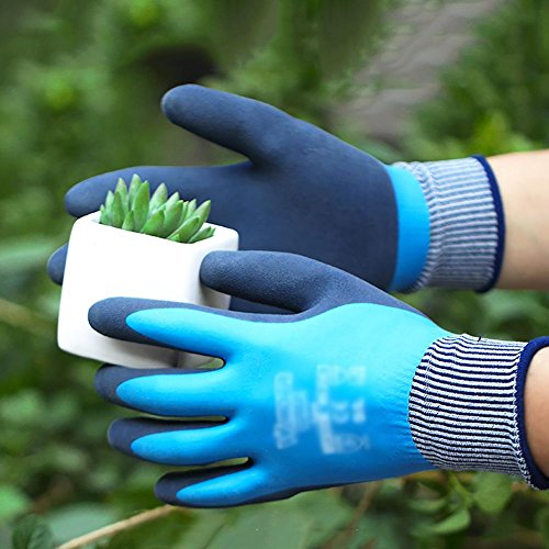 JZDCSCDNS Gants de Jardinage Jardin Revêtement en Caoutchouc Doublure en Nylon Étanche Résistant à l'usure Anti-ponction Résistant à la déchirure Fertiliser Travaux ménagers Nettoyer Gris, XL