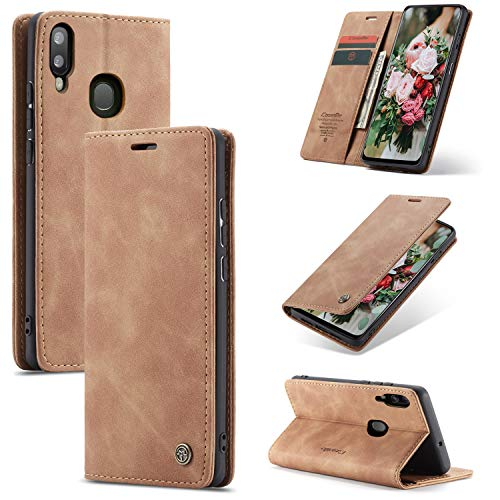 FMPC Handyhülle für Samsung Galaxy A20E Premium Lederhülle PU Flip Magnet Hülle Wallet Klapphülle Silikon Bumper Schutzhülle für Samsung Galaxy A20E Handytasche - Braun