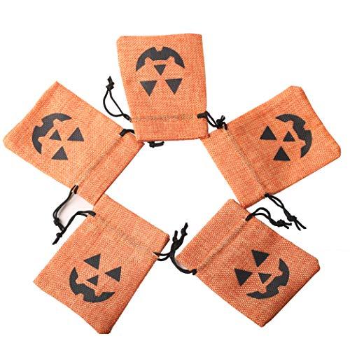 axuanyasi Packung Halloween Kürbis Taschen Behandeln Taschen Kordelzug Goodies Tasche für Süßes Oder Saures Party Favors, 3,5 x 5 Zoll