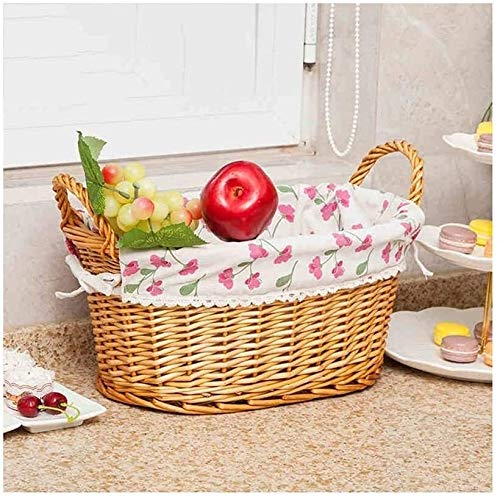 FZWAI Wicker Seagrass Storage Baskets Hamper Gift Box Washable Lining (Color : Natural, Size : 45x31x21cm)