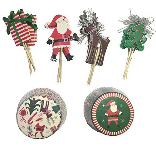 fumee Santa Claus artistique pour cupcakes Bake papier Tasses Wrapper Wraps gâteau muffin papier Supports pour décoration de Noël