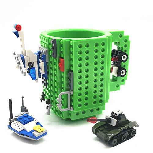 VANUODA Build Tasse Brick Mug Becher,Ostern Vatertag Geburtstag Einschulung Weihnachtengeschenk Idee,Personalisierte Geschenk für Männer Frauen Mama Kinder Papa Junge,Kompatibel für Lego (Grün)