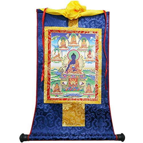 D.berite 13'X8.3' Tibetan Thangka 8 Medicine Buddha Silk Brocade Wood Scroll Printing