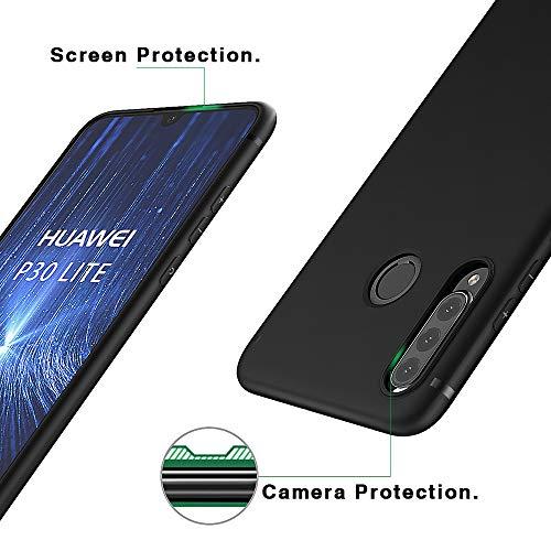 BENNALD Hülle für Huawei P30 Lite Hülle Soft Silikon Schutzhülle Case Cover - Premium TPU Tasche Handyhülle für Huawei P30 Lite (Schwarz,Black) - 5