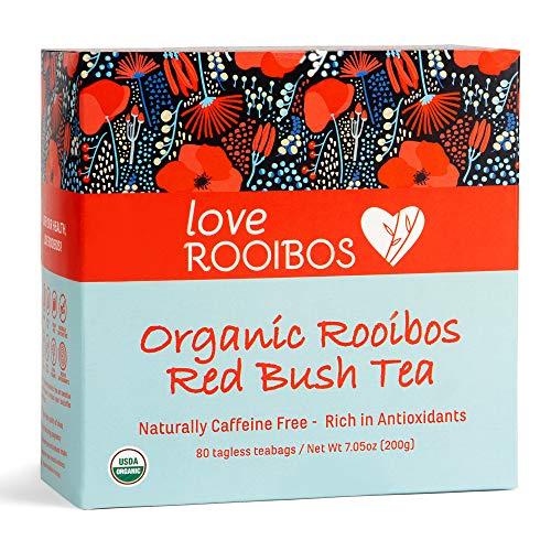 Rooibos Tea Organic 80 Tagless Teabags - Antioxidant-Rich, Caffeine Free Teas for Natural Wellness, Detox, Weight Loss, Sleep Aid and Pregnancy - Premium Red Tea - Farm Direct Healthy Herbal Brew