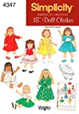 Simplicity Sewing Pattern 4347 Doll Clothes, One Size