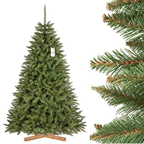 FairyTrees Abete Rosso/Peccio Naturale, Tronco Verde, Albero di Natale Artificiale, PVC, Supporto in Legno, 220cm