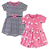 Hudson Baby Girl's Cotton Dresses, Pink Daisy, 4 Toddler