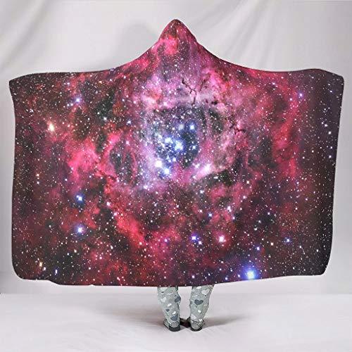 O5KFD&8 Galaxy - Coperta con cappuccio per il tempo libero, con cappuccio, adatta per donne e uomini, Peluche, Bianco 5, 130x150cm