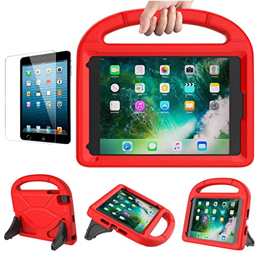 Tioatsky Kids Case for iPad Mini 1,Mini 2,Mini 3,Mini 4,Mini 5 (2019)-Shockproof Lightweight Handle Protective Stand Cover&(Screen Protector) for Apple ipad Mini 7.9 - (Red/with Screen Protector)