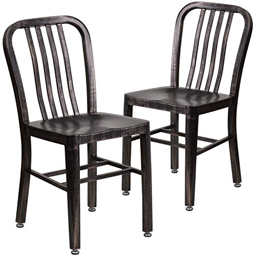 Flash Furniture Commercial Grade 2 Pack Black-Antique Gold Metal Indoor-Outdoor Chair