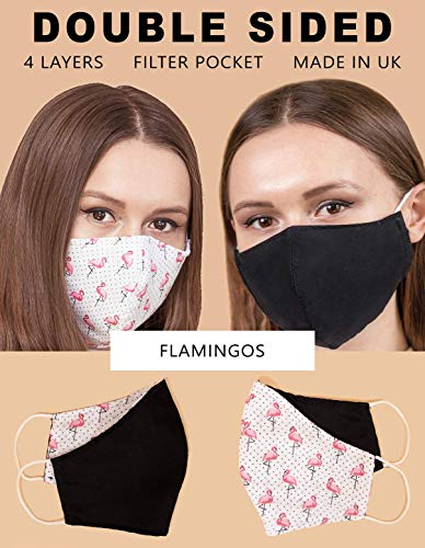 Washable Face Masks Reusable 100% Cotton Filter Pocket Made in UK, 4 Layers Mouth Mask Cute Beautiful Outdoor Cover