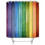 X-Labor Wand Motiv Duschvorhang 240x200cm Wasserabweisend Stoff Anti-Schimmel inkl. 12 Duschvorhangringe Waschbar Badewannevorhang 240x200cm Muster-F