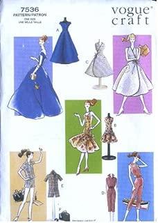 Vogue 7536 - Vintage Doll Clothes - Circa 1958 - 11.5-Inch Fashion Dolls Patterns (Vogue Craft, Also sold as Vogue 791)