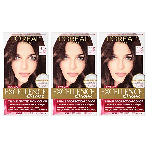 L'Oreal Paris Excellence Creme Permanent Hair Color, 4AR Dark Chocolate Brown, 100% Gray Coverage Hair Dye, Pack of 3