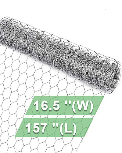 Garden Poultry Chicken Wire Netting - 16.5 '' × 157 '' Garden Fence Animal Barrier, Chicken Wire for Crafts, 1 inch Mesh Poultry Netting Fence, Pet/Rabbit/Chicken Wire Fencing