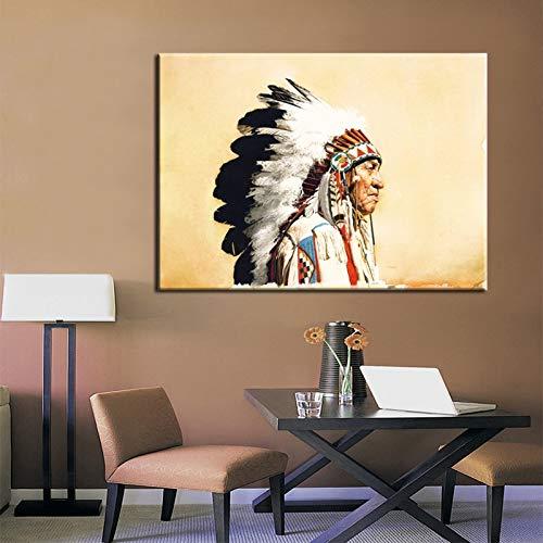 ERQINGYH Pintura Al Óleo Pintada A Mano Abstracto Indio Nativo Americano Retrato De Arte De La Lona Arte De La Pintura De La Lona Poster Arte De La Pared para La Sala De Estar Decoración para El Hog