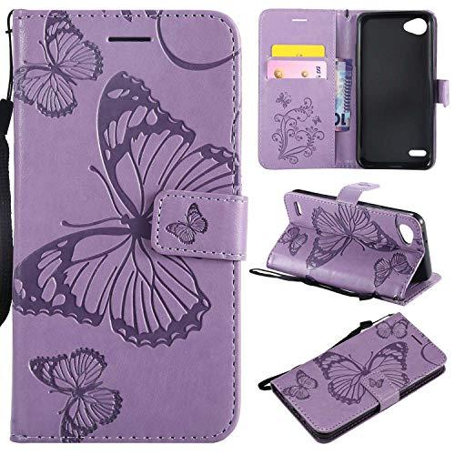 THRION LG G6 Hülle, PU Schmetterling Brieftaschenetui mit magnetischer Handschlaufe und Ständerhalterung für LG G6, Lila