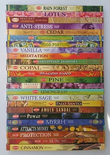 The Better Scents Hem Incense Variety Sampler of 24 Different Fragrance x 8 Sticks Each Total of 192 Incense Sticks