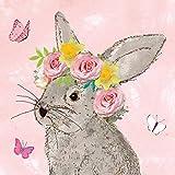 Casa Cucina Decorazione Accessori Set 40 Tovaglioli Monouso Carta 3 veli 33 x 33 cm Motivo Primavera Pasqua Coniglio