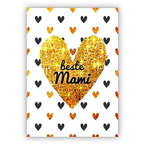 Herzige Glückwunschkarte zum Muttertag/Muttertagskarte mit vielen Herzen: beste Mami • für Mutti, Mama als kleines Geschenk, Gutschein Karte mit Umschlag