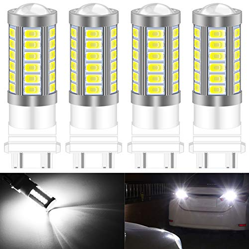 KATUR 4pcs 3157 3047 3057 3155 5630 33-SMD Blanc 900 Lumens 8000K Super Bright LED Tourner Le Frein d'arrêt Signal Signal Lampe Ampoule 12V 3.6W