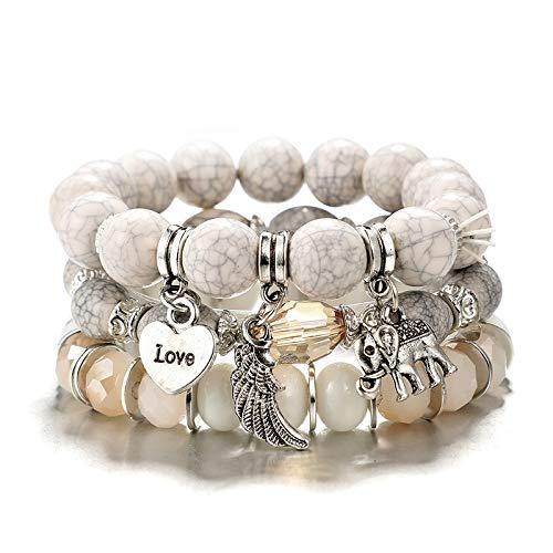 crintiff Bracelet Love - Trois Bracelets en Perles Naturelle avec des pendents Love, Plume et Eléphant Porte Bonheur - Blanc