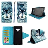 Wirelesspulse Snow Wolf Wallet Folio Case for Samsung Note 9 Fashion Flip PU Leather Cover Card Cash Slots & Stand