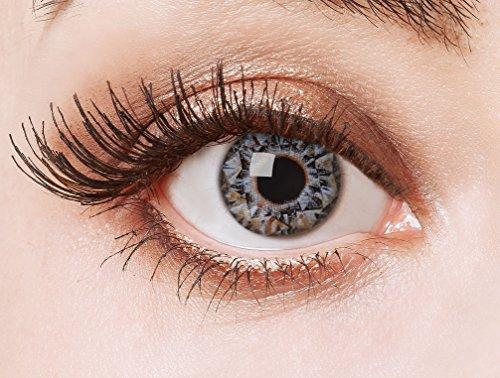 aricona Kontaktlinsen - Grau-blaue Kontaktlinsen ohne Stärke - Farbige Kontaktlinsen Motivlinsen mit Diamanten-Optik, 2 Stück