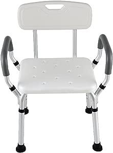 FJXLZ  Shower chair  With armrests With backrest Old man Bath chair Disabled Bathing stool Bathroom Aluminum alloy Bath chair 52x40x14cm Detachable  lightweight