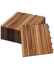 Hengda Houten Tegels 11 stuks Splicing vloer Balkon Terras acaciahout FSC®-Gecertificeerd Tegels