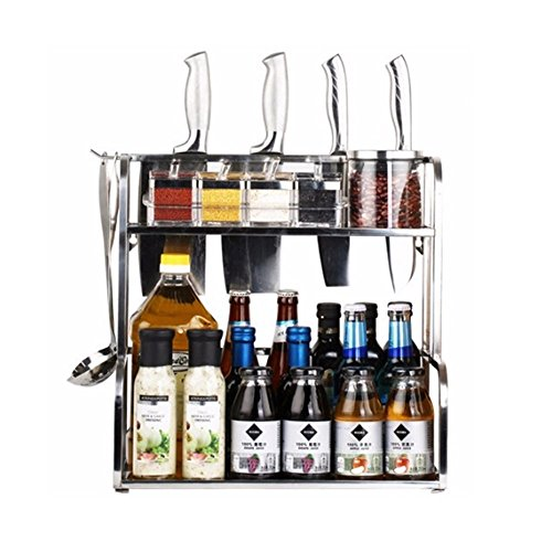 ANTFEES Muebles de cocina spice rack de pared doble de acero inoxidable...