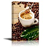 Canvas Prints Wall Art - Cup of Espresso Coffee and Coffee Beans and Brown Sugar   Modern Wall Decor/Home Art Stretched Gallery Canvas Wraps Giclee Print & Ready to Hang - 12' x 18'