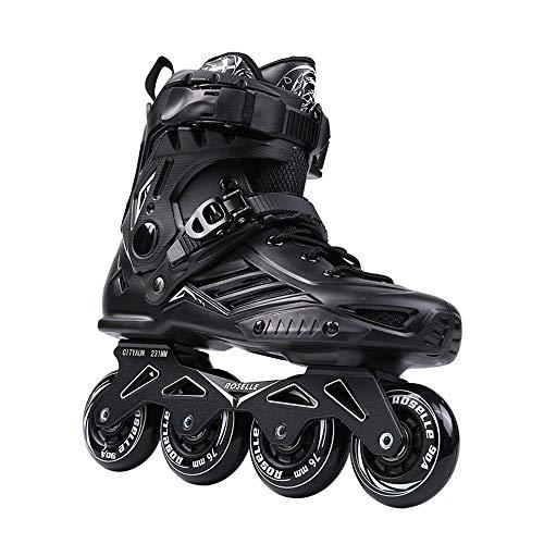 Mhwlai Inline-Skates für Erwachsene, Anfänger, Herren- und Damen-Rollschuhe, Profi-Fancy-Skates (schwarz),Schwarz,44