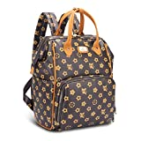 Hafmall Diaper Backpack, Leather Baby Diaper Bag with Changing Pad, Stroller Hooks and Insulated Pockets, Stylish Maternity Bag for Boys and Girls